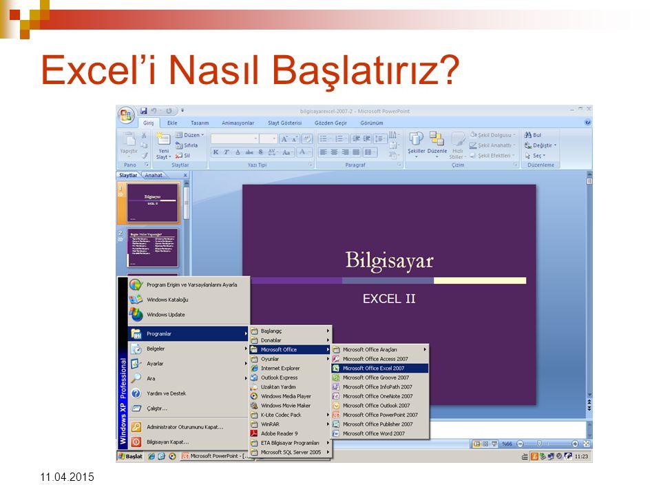 11.04.2015 Excel'i Nasıl Başlatırız?