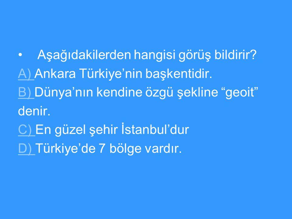 Aşağıdakilerden hangisi görüş bildirir.A) A) Ankara Türkiye'nin başkentidir.