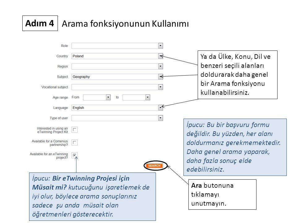 Adım 4 Arama fonksiyonunun Kullanımı Ya da Ülke, Konu, Dil ve benzeri seçili alanları doldurarak daha genel bir Arama fonksiyonu kullanabilirsiniz. İp