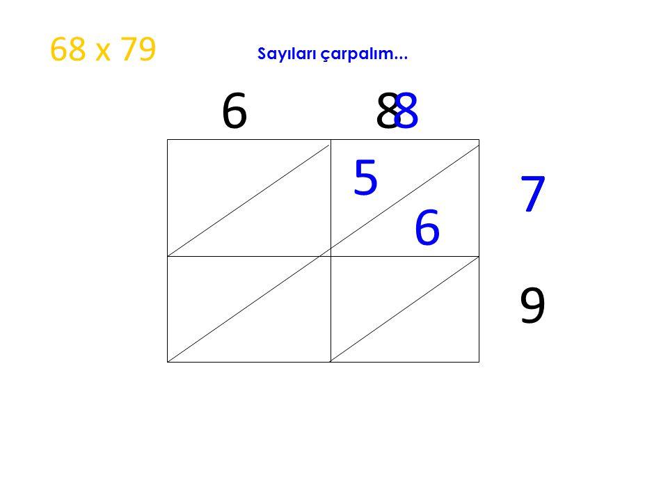 6 8 5 6 8 7 9 7 68 x 79 Sayıları çarpalım...