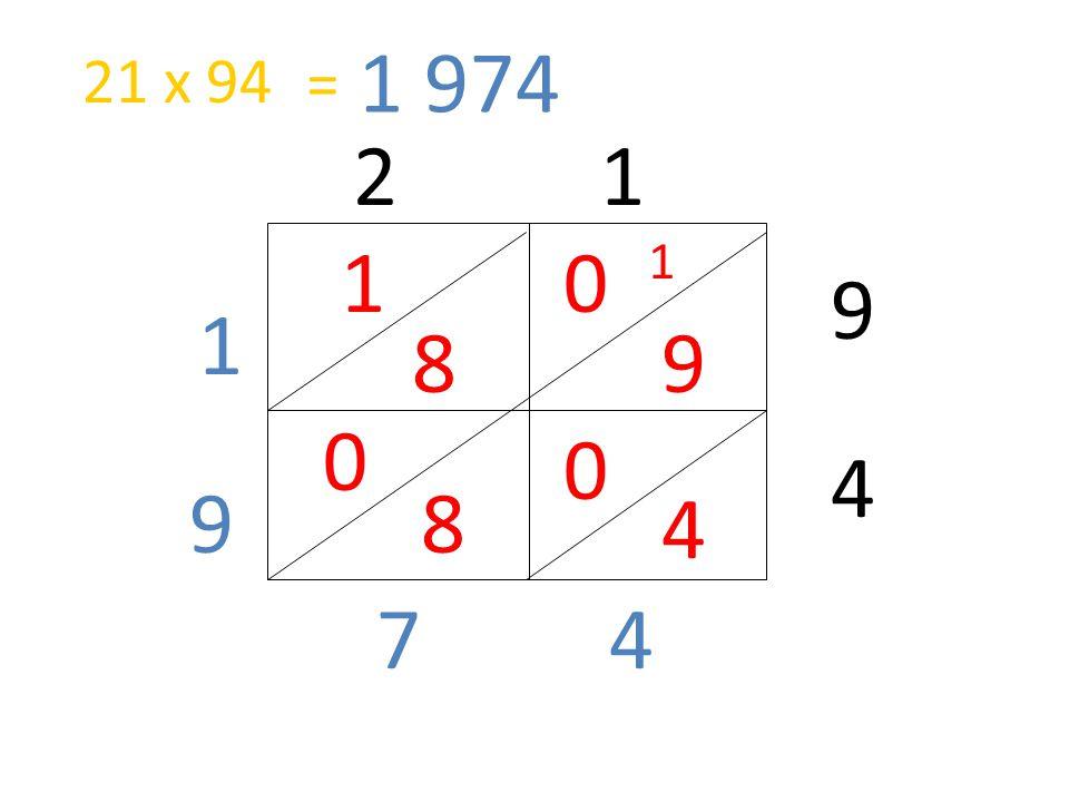 2 1 9 4 0 9 1 8 0 4 0 8 47 9 1 1 = 1 974 21 x 94