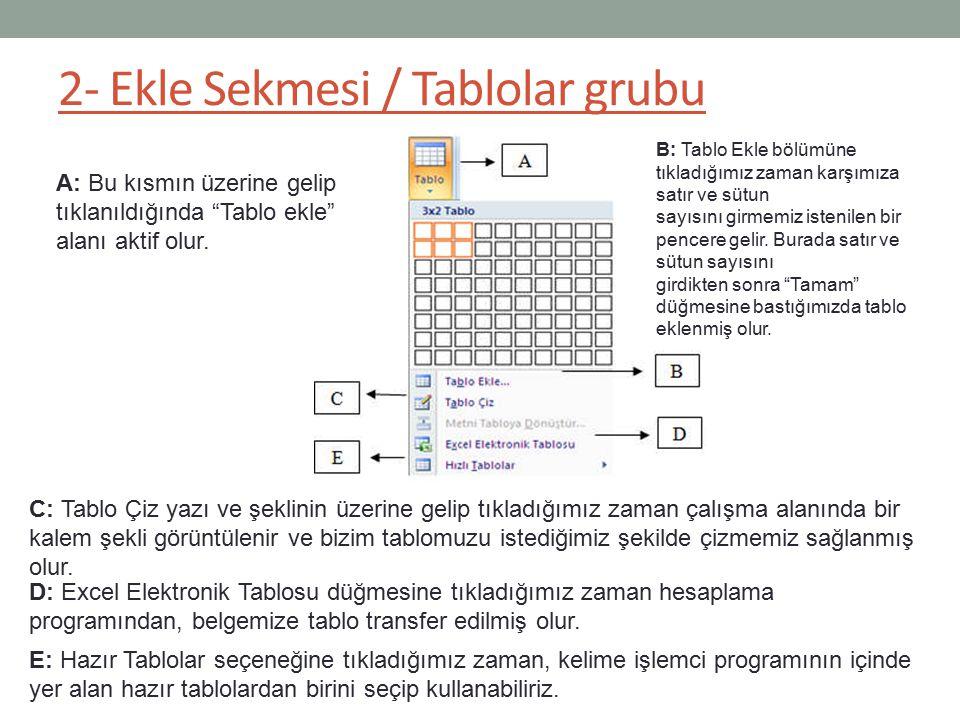 """2- Ekle Sekmesi / Tablolar grubu A: Bu kısmın üzerine gelip tıklanıldığında """"Tablo ekle"""" alanı aktif olur. D: Excel Elektronik Tablosu düğmesine tıkla"""