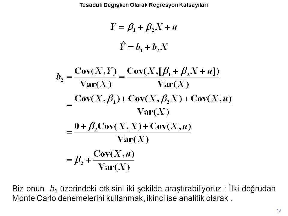 10 Tesadüfi Değişken Olarak Regresyon Katsayıları Biz onun b 2 üzerindeki etkisini iki şekilde araştırabiliyoruz : İlki doğrudan Monte Carlo denemelerini kullanmak, ikinci ise analitik olarak.