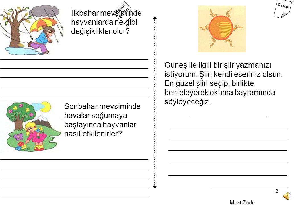 Mitat Zorlu 2 Hayat Bilgisi Türkçe İlkbahar mevsiminde hayvanlarda ne gibi değişiklikler olur.