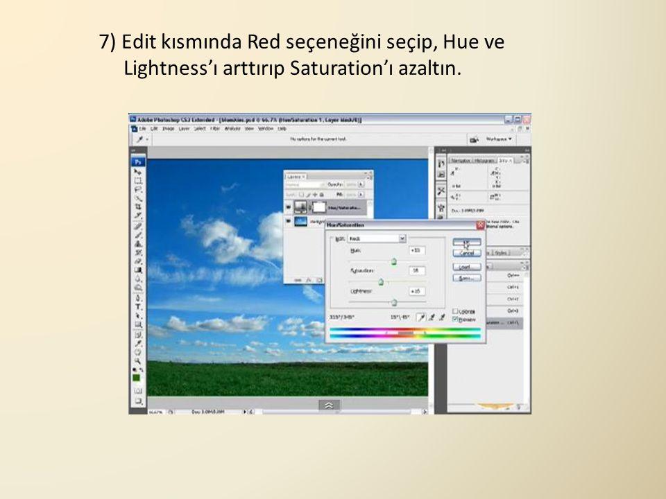 7) Edit kısmında Red seçeneğini seçip, Hue ve Lightness'ı arttırıp Saturation'ı azaltın.