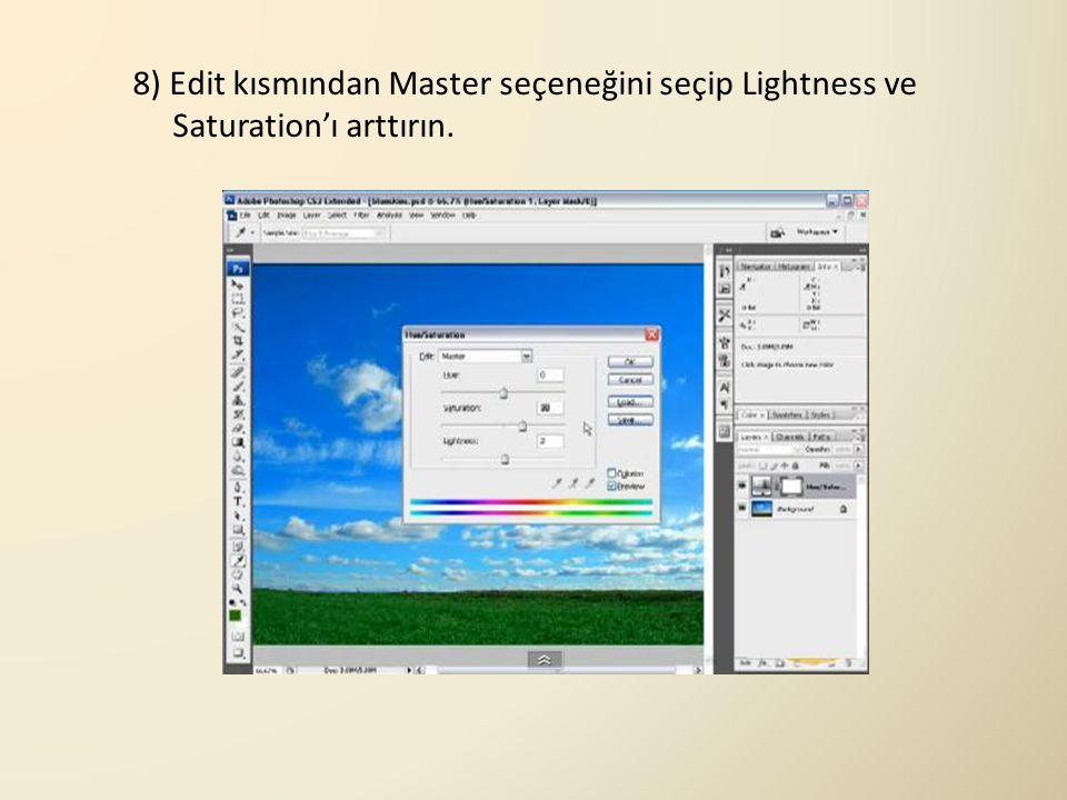 8) Edit kısmından Master seçeneğini seçip Lightness ve Saturation'ı arttırın.