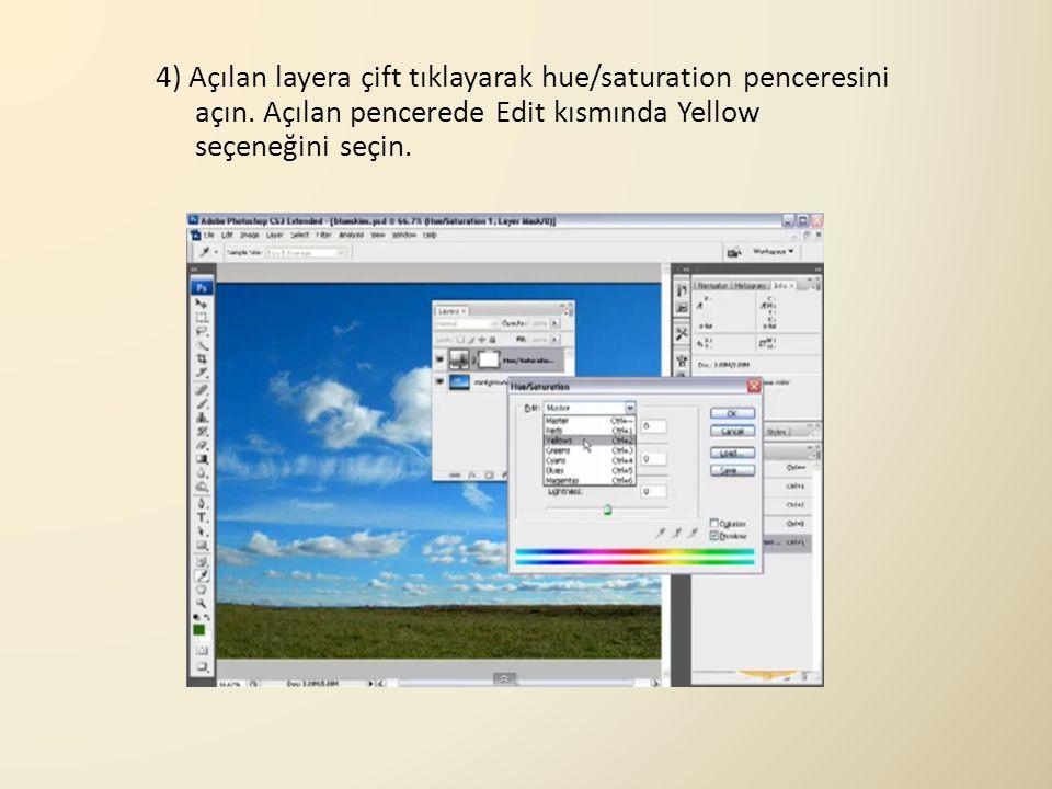 4) Açılan layera çift tıklayarak hue/saturation penceresini açın. Açılan pencerede Edit kısmında Yellow seçeneğini seçin.
