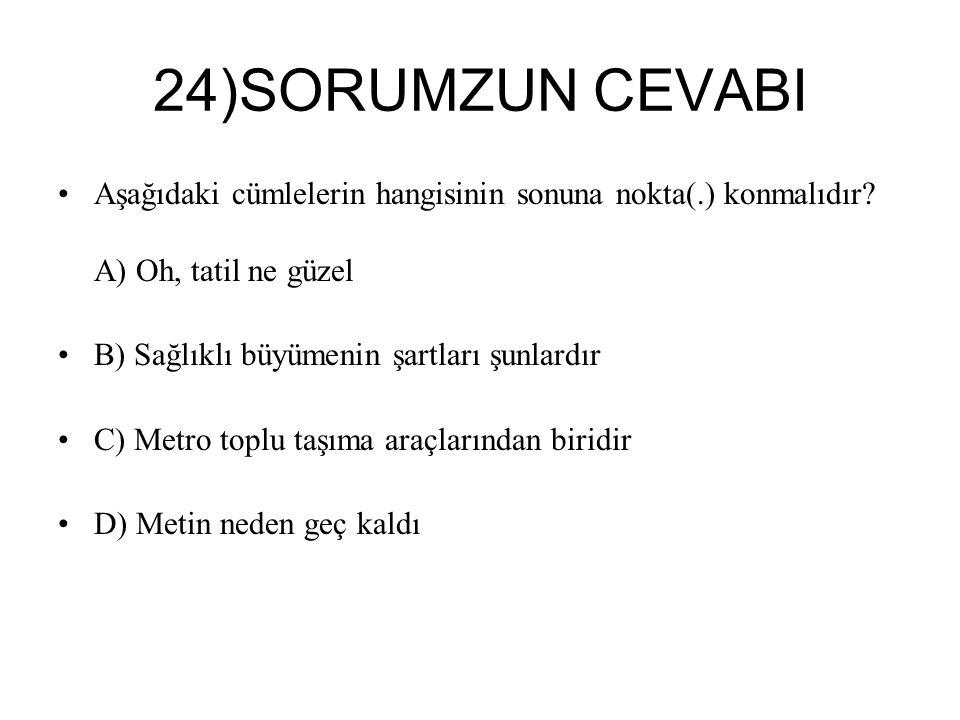 24)SORUMZUN CEVABI Aşağıdaki cümlelerin hangisinin sonuna nokta(.) konmalıdır.