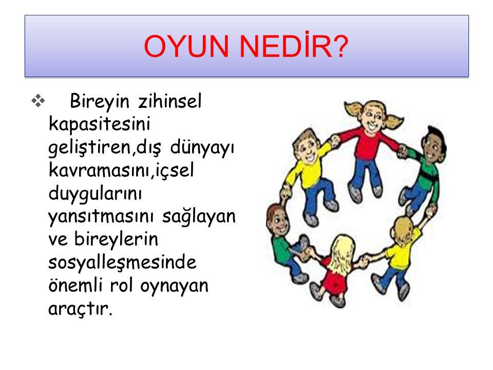 Oyunun Çocuğun Gelişimine Etkisi OYUN:OYUN: ÇOCUĞUN İSTEYEREK, HOŞLANARAK YERÇOCUĞUN İSTEYEREK, HOŞLANARAK YER ALDIĞI, FİZİKSEL, BİLİŞSEL, DİL, ALDIĞI, FİZİKSEL, BİLİŞSEL, DİL, D UYGUSAL VE SOSYAL GELİŞİMİNİN TEMELİ D UYGUSAL VE SOSYAL GELİŞİMİNİN TEMELİ OLAN, GERÇEK HAYATIN BİR PARÇASI DIR.