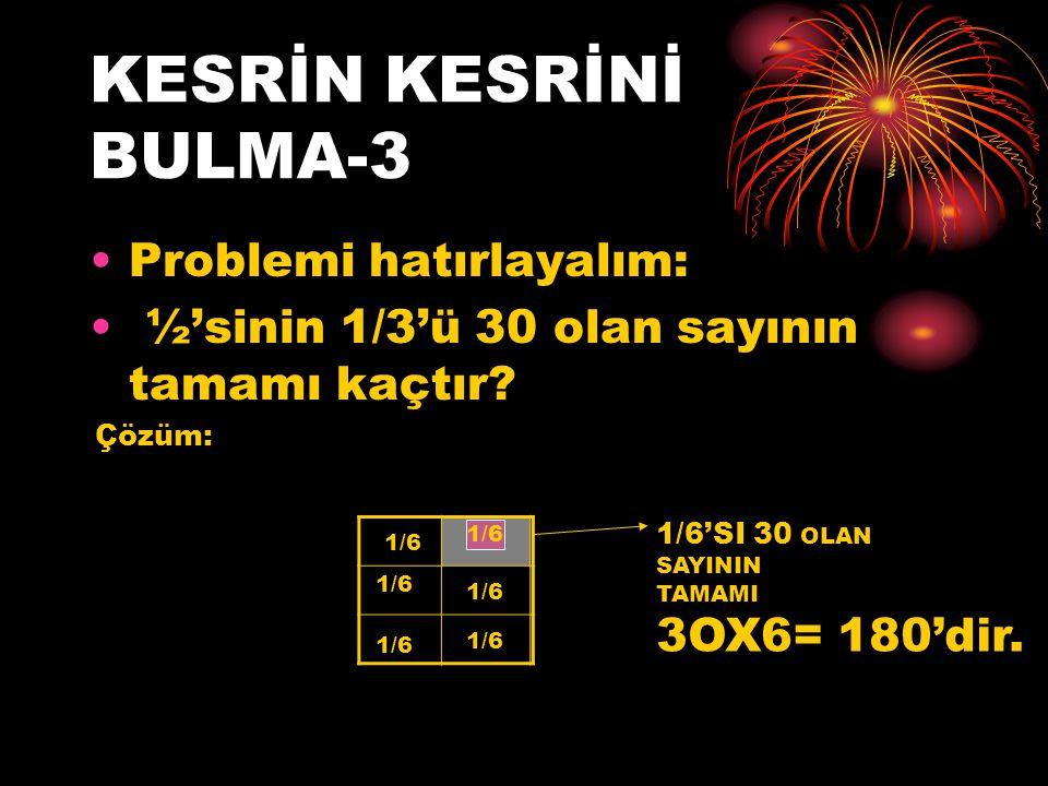 KESRİN KESRİNİ BULMA-3 Problemi hatırlayalım: ½'sinin 1/3'ü 30 olan sayının tamamı kaçtır? Çözüm: 1/6 1/6 1/6 1/6 1/6 1/6 1/6'SI 30 OLAN SAYININ TAMAM