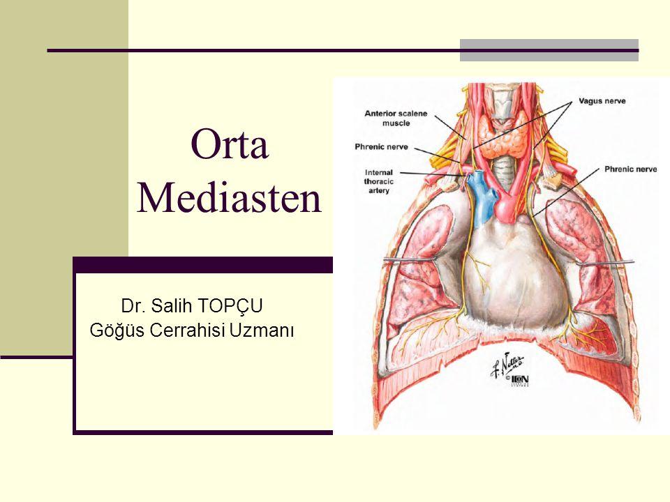 Mediastinum Mediasten iki plevra yaprağı arasındaki boşluk olarak tanımlanır.