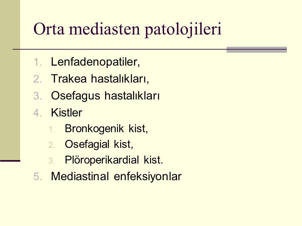 Orta mediasten patolojileri 1. Lenfadenopatiler, 2. Trakea hastalıkları, 3. Osefagus hastalıkları 4. Kistler 1. Bronkogenik kist, 2. Osefagial kist, 3