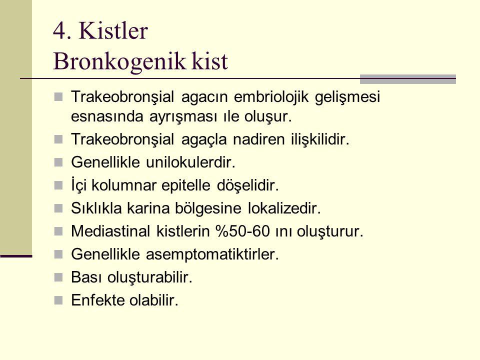 4. Kistler Bronkogenik kist Trakeobronşial agacın embriolojik gelişmesi esnasında ayrışması ıle oluşur. Trakeobronşial agaçla nadiren ilişkilidir. Gen