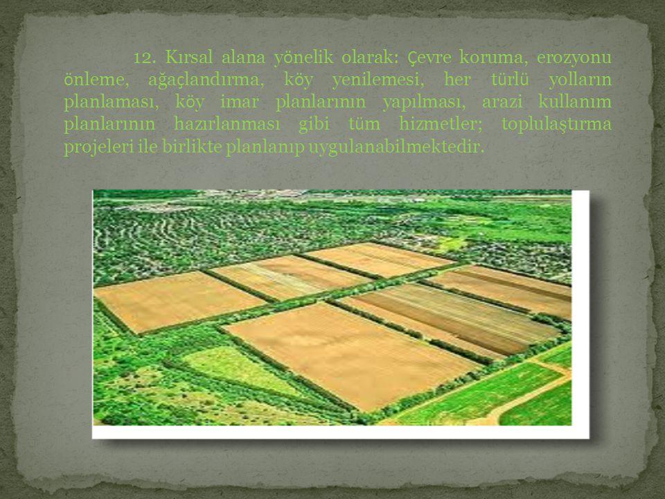 12. Kırsal alana y ö nelik olarak: Ç evre koruma, erozyonu ö nleme, ağa ç landırma, k ö y yenilemesi, her t ü rl ü yolların planlaması, k ö y imar pla