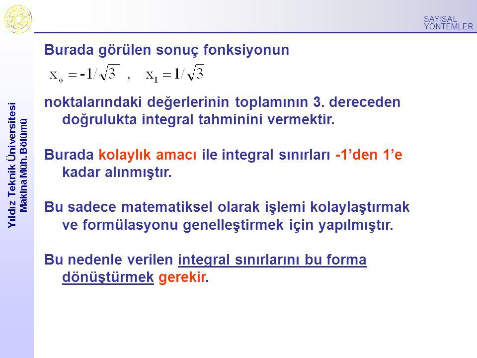 Yıldız Teknik Üniversitesi Makina Müh. Bölümü SAYISAL YÖNTEMLER Burada görülen sonuç fonksiyonun noktalarındaki değerlerinin toplamının 3. dereceden d