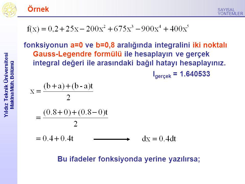 Yıldız Teknik Üniversitesi Makina Müh. Bölümü SAYISAL YÖNTEMLER Örnek fonksiyonun a=0 ve b=0,8 aralığında integralini iki noktalı Gauss-Legendre formü