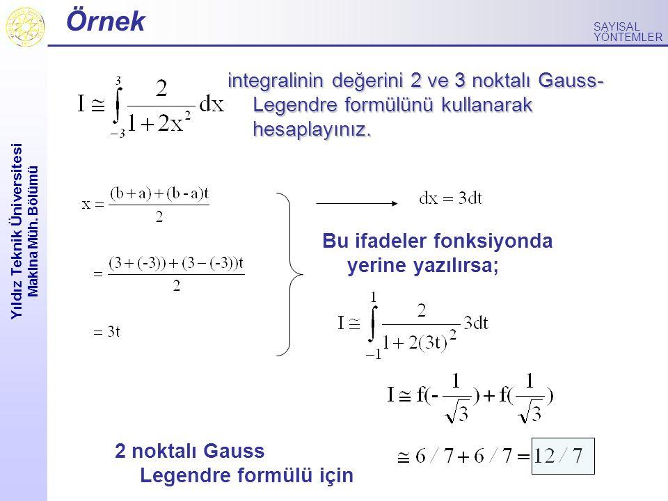 Yıldız Teknik Üniversitesi Makina Müh. Bölümü SAYISAL YÖNTEMLER Örnek integralinin değerini 2 ve 3 noktalı Gauss- Legendre formülünü kullanarak hesapl