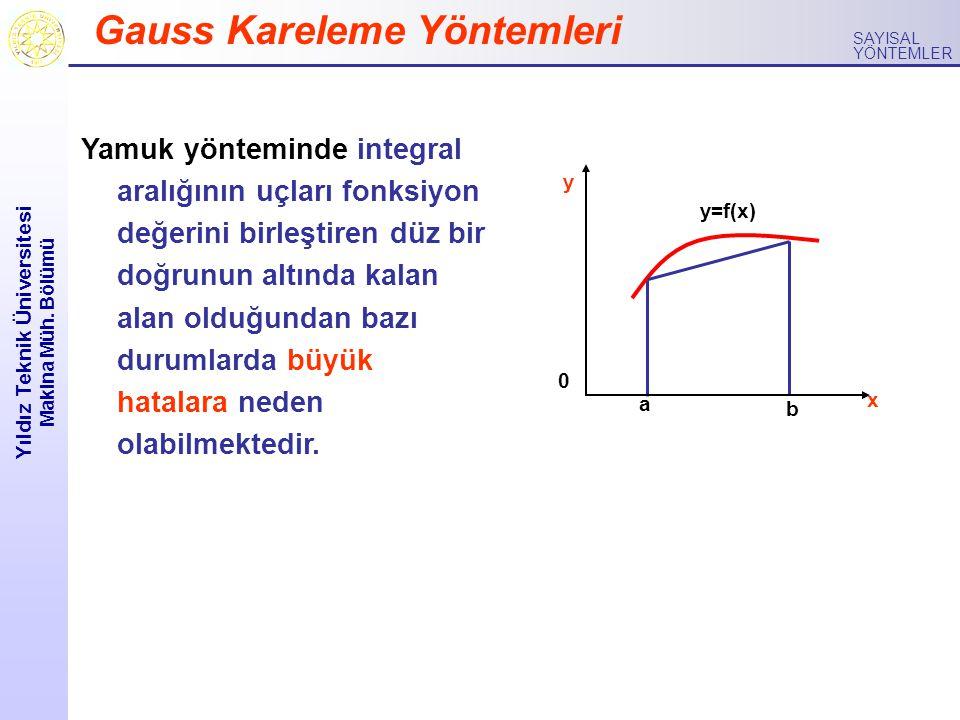 Yıldız Teknik Üniversitesi Makina Müh. Bölümü SAYISAL YÖNTEMLER Gauss Kareleme Yöntemleri Yamuk yönteminde integral aralığının uçları fonksiyon değeri