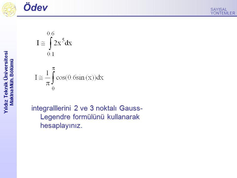 Yıldız Teknik Üniversitesi Makina Müh. Bölümü SAYISAL YÖNTEMLER Ödev integralllerini 2 ve 3 noktalı Gauss- Legendre formülünü kullanarak hesaplayınız.