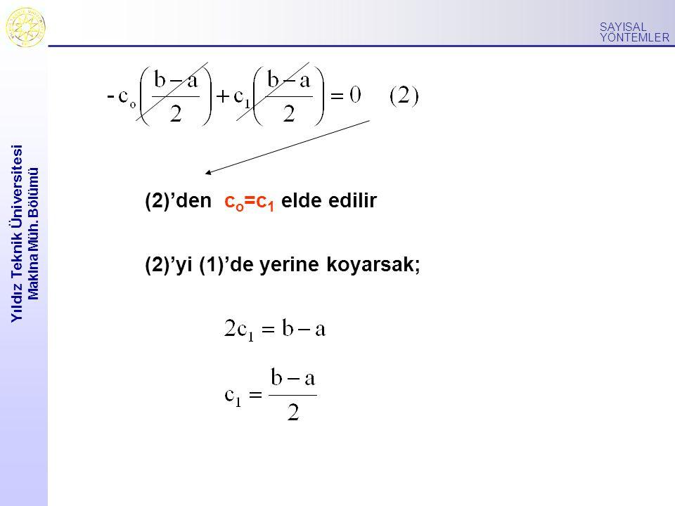 Yıldız Teknik Üniversitesi Makina Müh. Bölümü SAYISAL YÖNTEMLER (2)'den c o =c 1 elde edilir (2)'yi (1)'de yerine koyarsak;