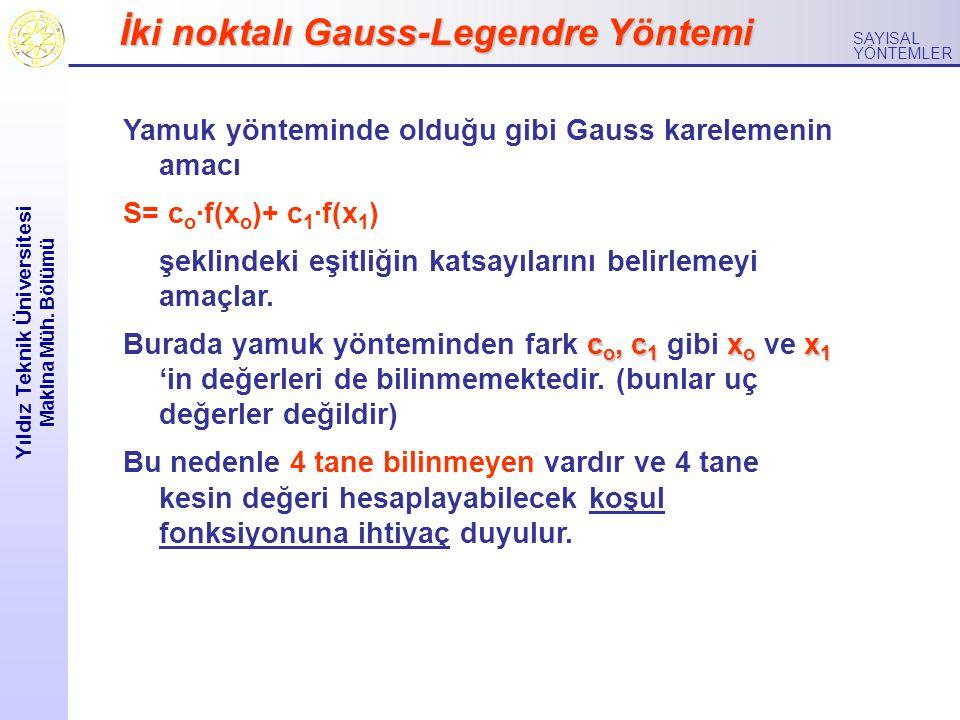 Yıldız Teknik Üniversitesi Makina Müh. Bölümü SAYISAL YÖNTEMLER İki noktalı Gauss-Legendre Yöntemi Yamuk yönteminde olduğu gibi Gauss karelemenin amac