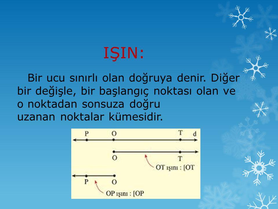 IŞIN: Bir ucu sınırlı olan doğruya denir. Diğer bir değişle, bir başlangıç noktası olan ve o noktadan sonsuza doğru uzanan noktalar kümesidir.