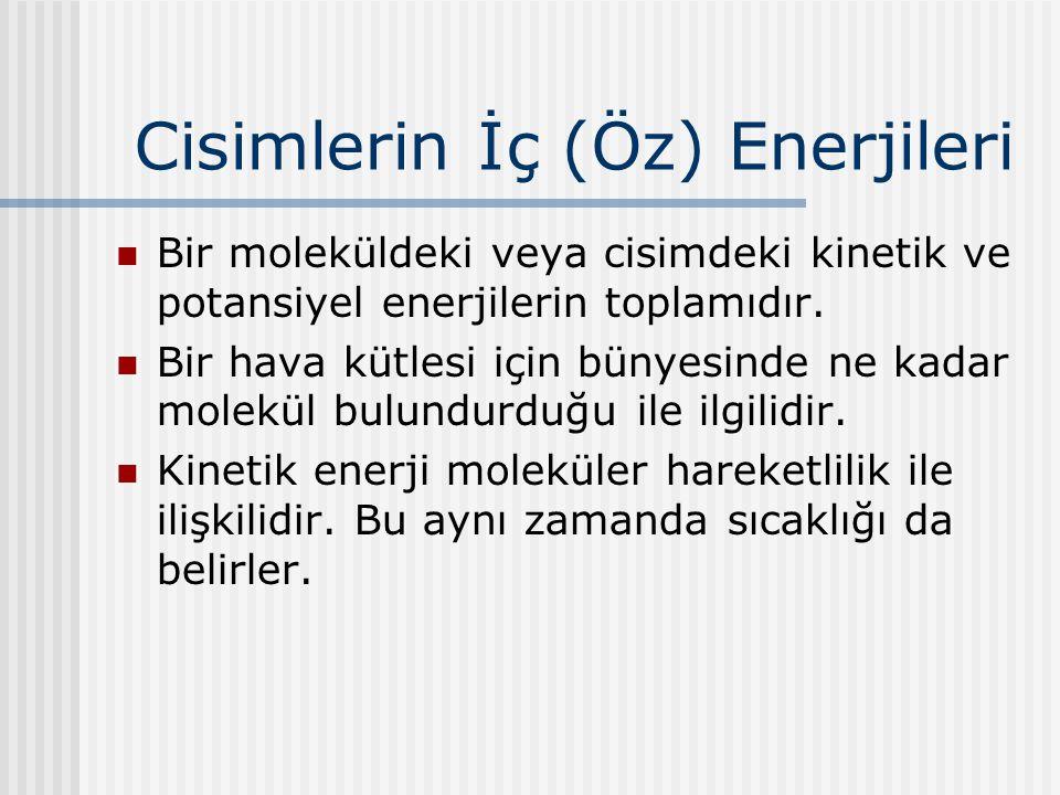 Cisimlerin İç (Öz) Enerjileri Bir moleküldeki veya cisimdeki kinetik ve potansiyel enerjilerin toplamıdır. Bir hava kütlesi için bünyesinde ne kadar m