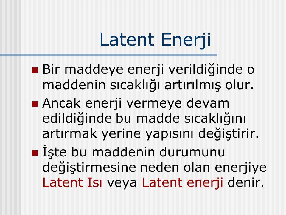 Latent Enerji Bir maddeye enerji verildiğinde o maddenin sıcaklığı artırılmış olur. Ancak enerji vermeye devam edildiğinde bu madde sıcaklığını artırm