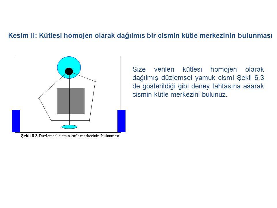 Kesim II: Kütlesi homojen olarak dağılmış bir cismin kütle merkezinin bulunması Şekil 6.3 Düzlemsel cismin kütle merkezinin bulunması Size verilen küt