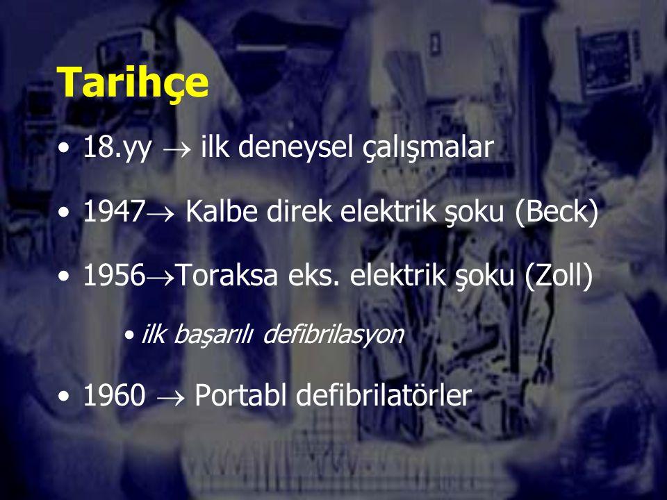 Tarihçe 18.yy  ilk deneysel çalışmalar 1947  Kalbe direk elektrik şoku (Beck) 1956  Toraksa eks.