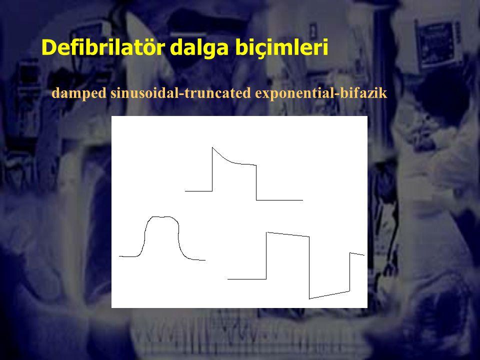 Defibrilatör dalga biçimleri damped sinusoidal-truncated exponential-bifazik
