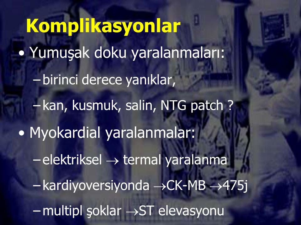 Komplikasyonlar Yumuşak doku yaralanmaları: –birinci derece yanıklar, –kan, kusmuk, salin, NTG patch .