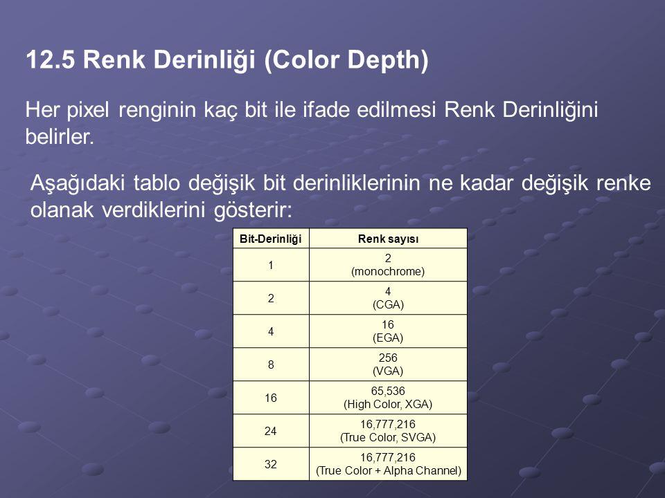 12.5 Renk Derinliği (Color Depth) Her pixel renginin kaç bit ile ifade edilmesi Renk Derinliğini belirler. Aşağıdaki tablo değişik bit derinliklerinin
