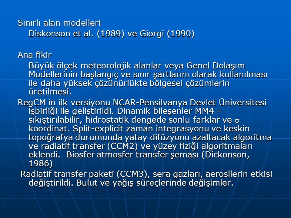 Sınırlı alan modelleri Diskonson et al. (1989) ve Giorgi (1990) Ana fikir Büyük ölçek meteorolojik alanlar veya Genel Dolaşım Modellerinin başlangıç v