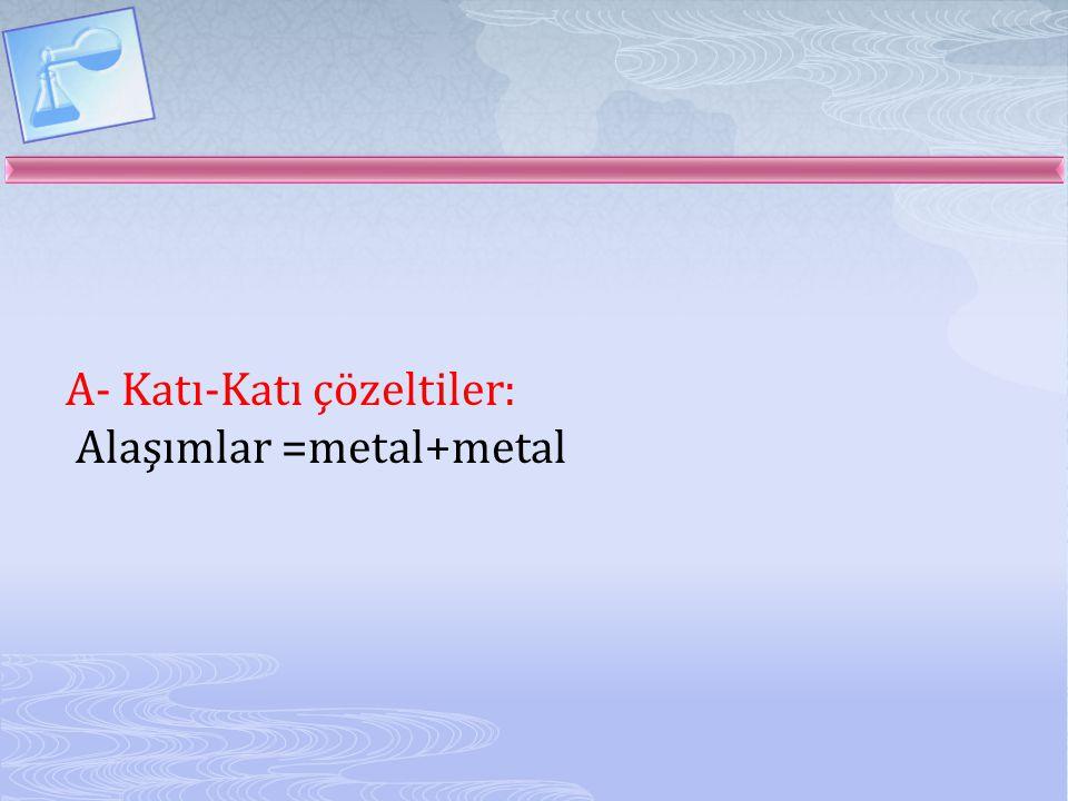 A- Katı-Katı çözeltiler: Alaşımlar =metal+metal