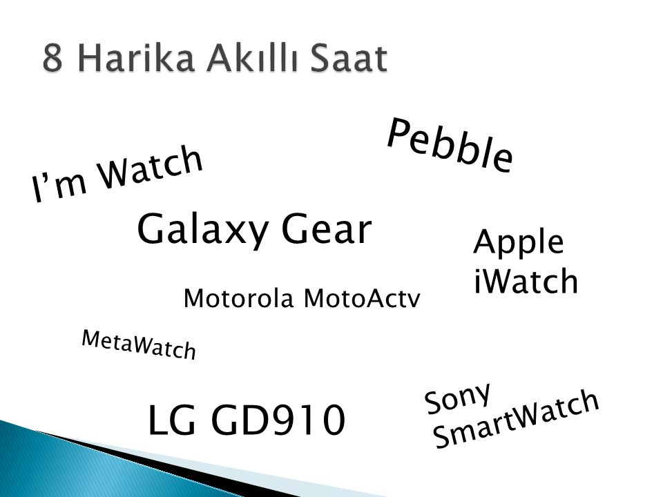 I'm Watch Galaxy Gear MetaWatch Sony SmartWatch Motorola MotoActv Apple iWatch LG GD910 Pebble