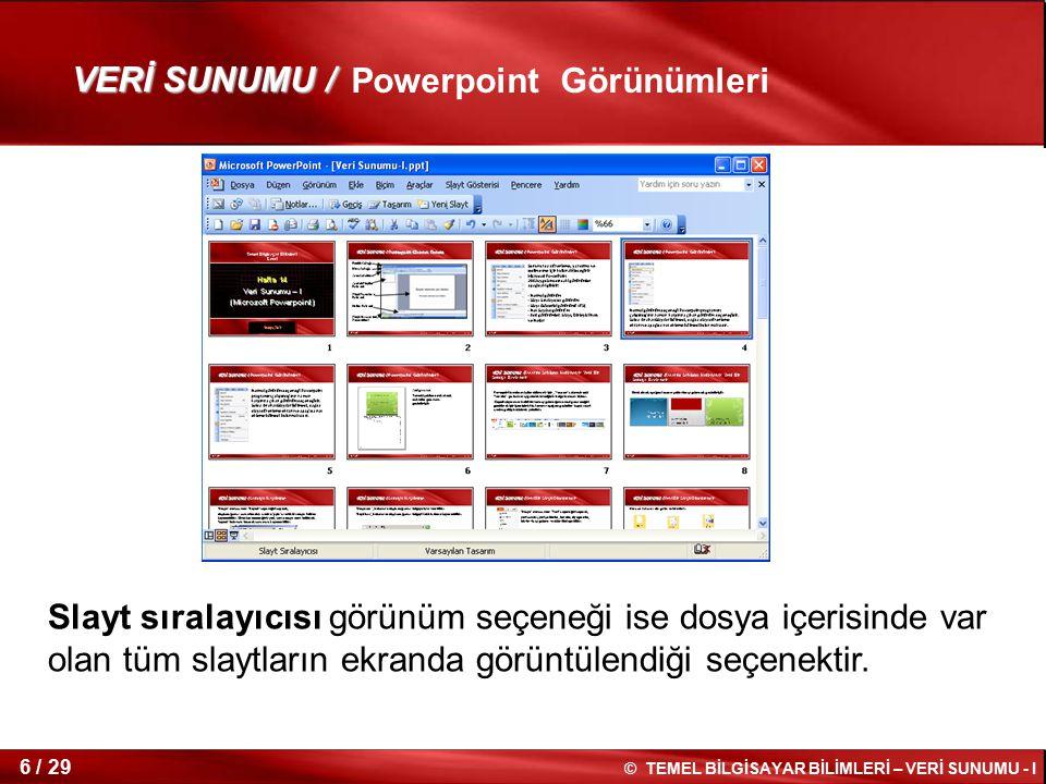 © TEMEL BİLGİSAYAR BİLİMLERİ – VERİ SUNUMU - I 5 / 29 Normal görünüm seçeneği, Powerpoint programını çalıştırdığınız zaman karşınıza çıkan görünüm seç
