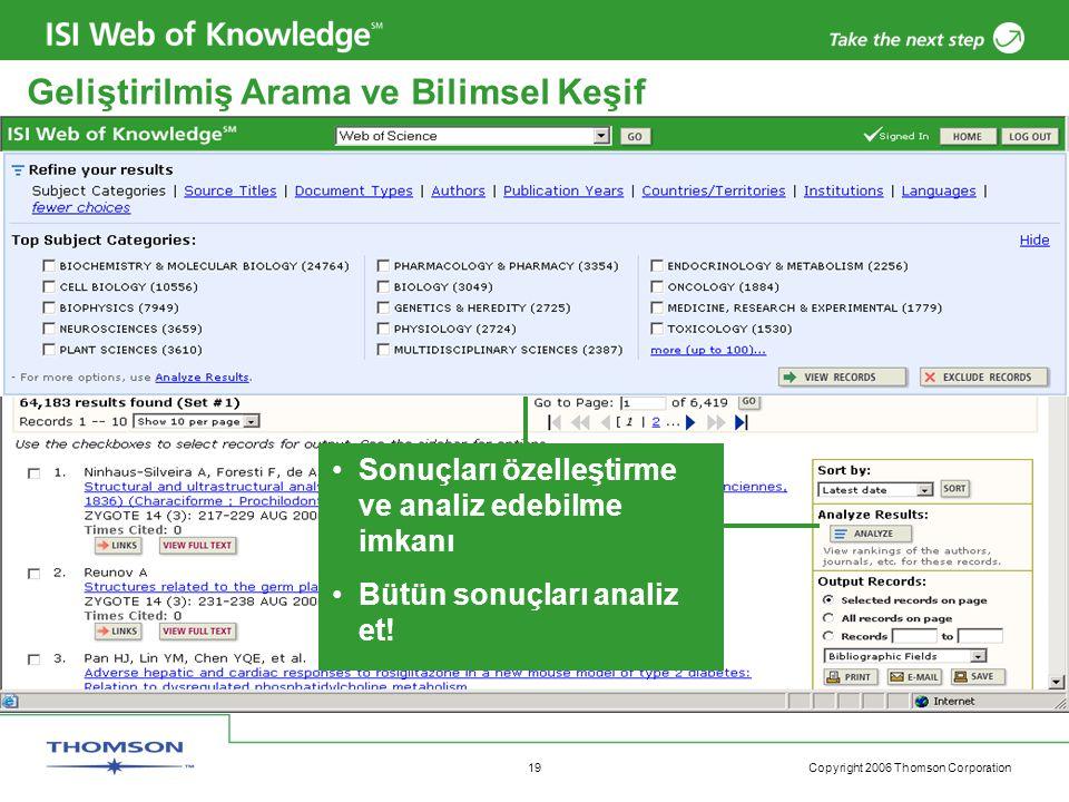 Copyright 2006 Thomson Corporation 19 Geliştirilmiş Arama ve Bilimsel Keşif Sonuçları özelleştirme ve analiz edebilme imkanı Bütün sonuçları analiz et!