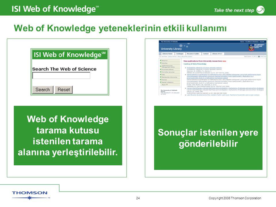 Copyright 2006 Thomson Corporation 24 Web of Knowledge yeteneklerinin etkili kullanımı Web of Knowledge tarama kutusu istenilen tarama alanına yerleştirilebilir.