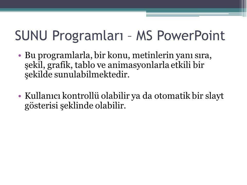 SUNU Programları – MS PowerPoint Bu programlarla, bir konu, metinlerin yanı sıra, şekil, grafik, tablo ve animasyonlarla etkili bir şekilde sunulabilmektedir.