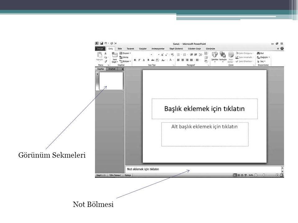 Görünüm Sekmesi Sunu Görünümünü Değiştirme: Normal, okuma modu, slayt sıralayıcı, not sayfaları.