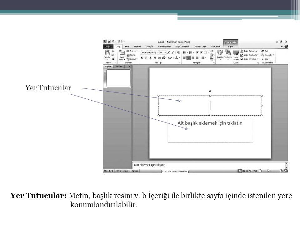 Yer Tutucular Yer Tutucular: Metin, başlık resim v. b İçeriği ile birlikte sayfa içinde istenilen yere konumlandırılabilir.