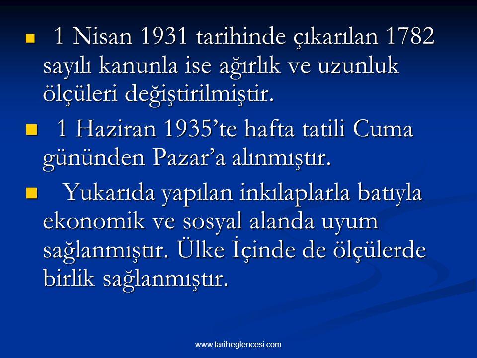 """4-TAKVİM,SAAT VE ÖLÇÜLERDE DEĞİŞİKLİK 26 Aralık 1925 yılında çıkarılan bir kanun- la """"Miladi Takvim"""" in kullanılması kabul edildi. Hicri ve Rumi takvi"""