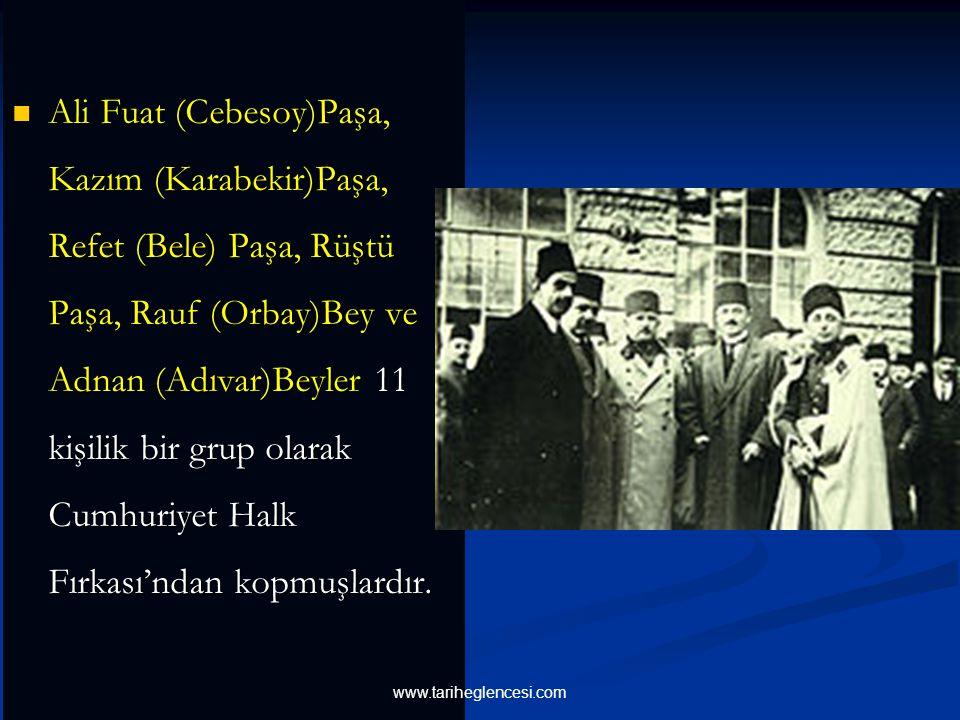 Bunun sonucunda Cumhuriyet Halk Fırkası'nda ilk ayrılıklar ortaya çıkmış bu durum 17 Kasım 1924'te Ankara'da yeni bir partinin doğmasına sebep olmuştu