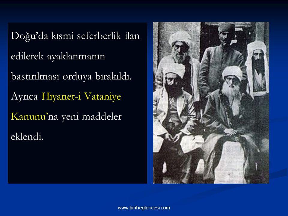Yeni hükümet ilk iş olarak, isyan karşısında hükümete geniş yetkiler veren Takrir-i Sükun Kanunu'nu çıkartmıştır (4 Mart 1925).Ayrıca TBMM, biri Ankar