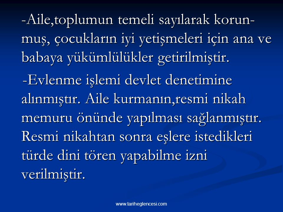 Türk Medeni Kanunu'nun getirdiği yenilikler şu şekilde özetlenebilir: Türk Medeni Kanunu'nun getirdiği yenilikler şu şekilde özetlenebilir: -Kadınla e
