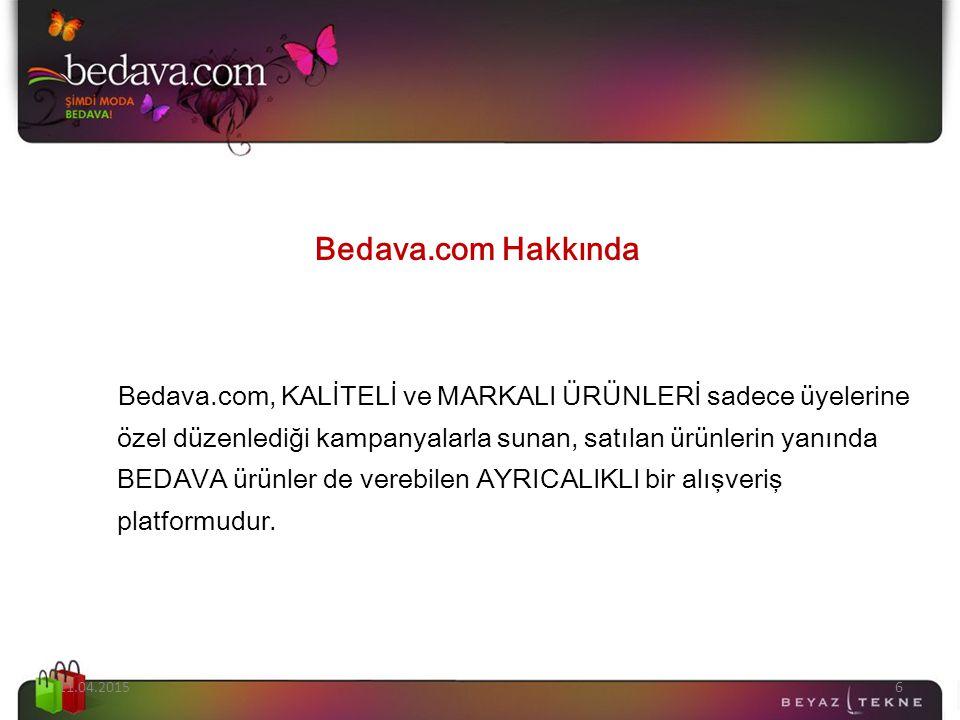 Bedava.com Hakkında Bedava.com, KALİTELİ ve MARKALI ÜRÜNLERİ sadece üyelerine özel düzenlediği kampanyalarla sunan, satılan ürünlerin yanında BEDAVA ürünler de verebilen AYRICALIKLI bir alışveriş platformudur.