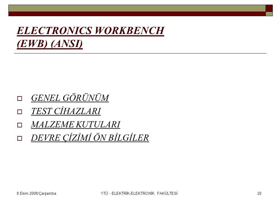 8 Ekim 2008/ÇarşambaYTÜ - ELEKTRİK-ELEKTRONİK FAKÜLTESİ20 ELECTRONICS WORKBENCH (EWB) (ANSI)  GENEL GÖRÜNÜM  TEST CİHAZLARI  MALZEME KUTULARI  DEV