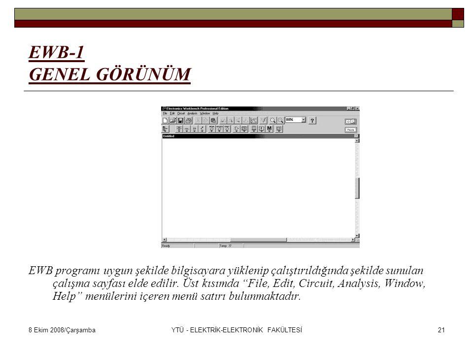 8 Ekim 2008/ÇarşambaYTÜ - ELEKTRİK-ELEKTRONİK FAKÜLTESİ21 EWB-1 GENEL GÖRÜNÜM EWB programı uygun şekilde bilgisayara yüklenip çalıştırıldığında şekild