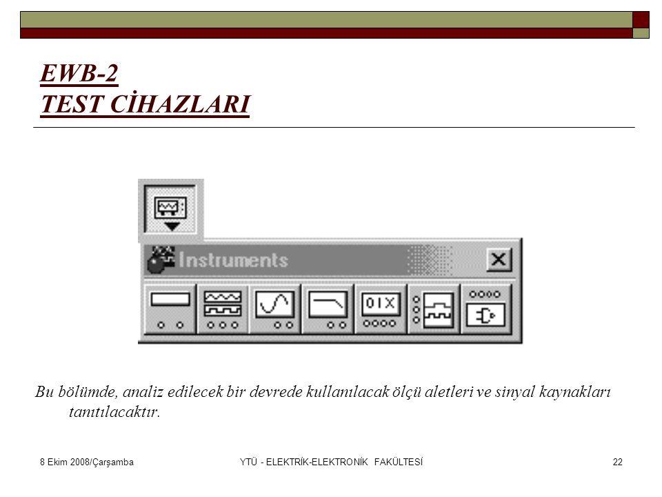 8 Ekim 2008/ÇarşambaYTÜ - ELEKTRİK-ELEKTRONİK FAKÜLTESİ22 EWB-2 TEST CİHAZLARI Bu bölümde, analiz edilecek bir devrede kullanılacak ölçü aletleri ve s